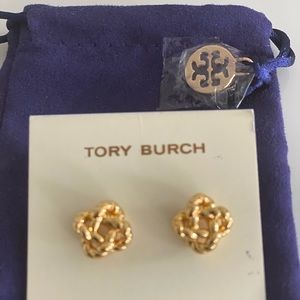 New Tory Burch Gold Tone Rope Knot Studs Earrings
